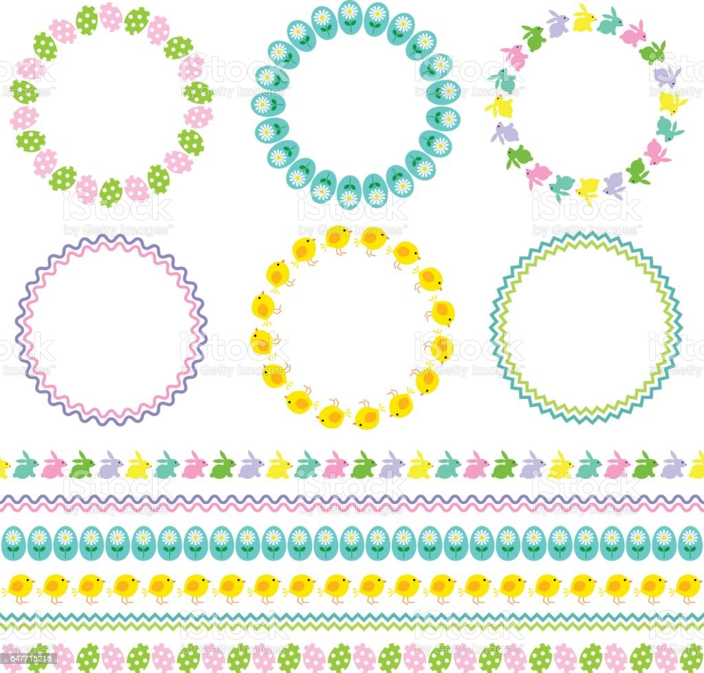 Easter Circle Frames And Borders Stock Vector Art & More Images of ...