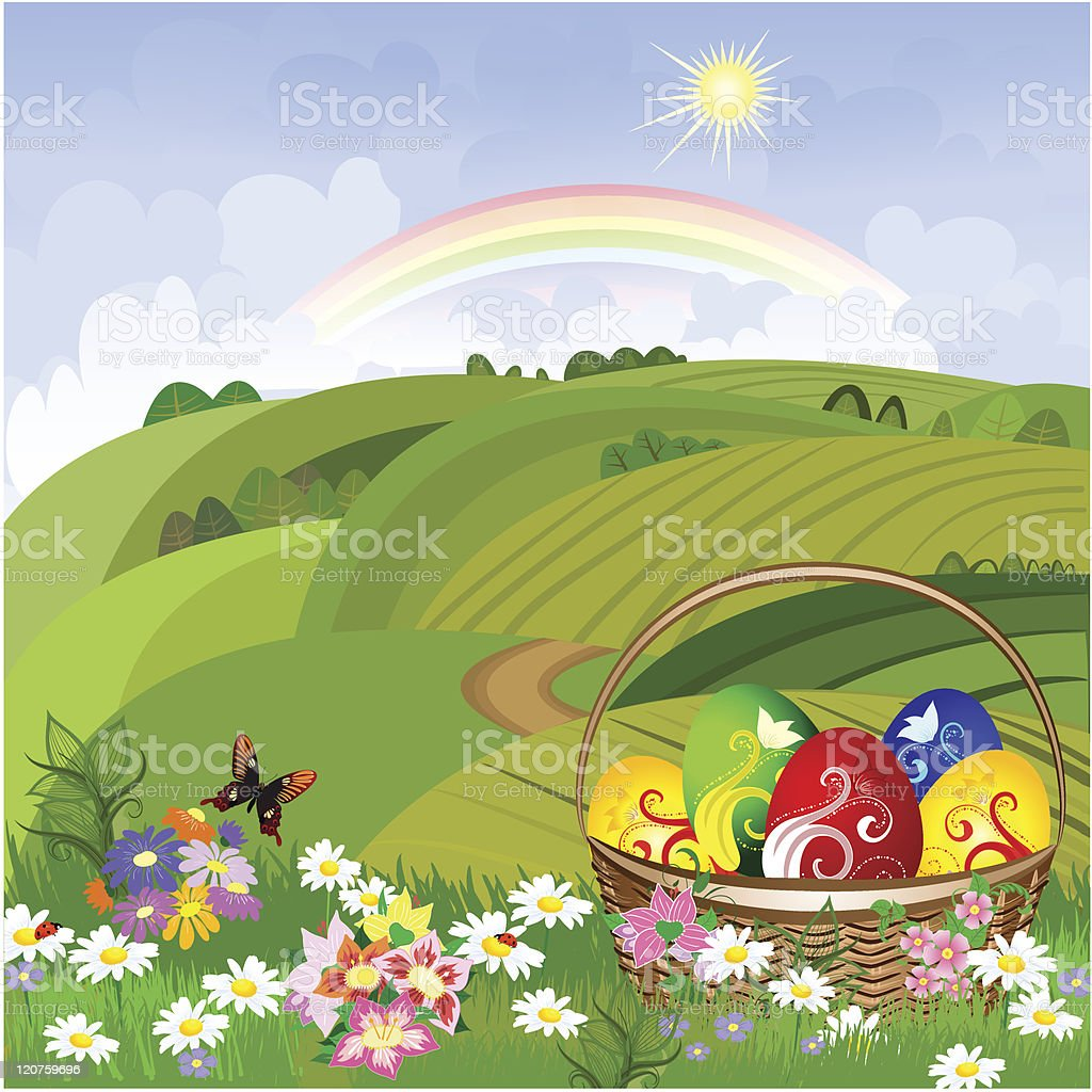 Easter clearing with a basket royalty-free easter clearing with a basket stock vector art & more images of abstract