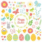 Easter collection. Flower, chicken, chamomile, bunny, bow, hearts, bucket, butterfly, sun, grass, garland, wreath, leaves, decorated egg, tulip, pussy-willow, letters and branch on white background