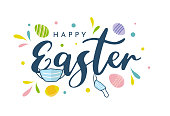 Easter colorful card with face mask. Vector illustration. EPS10