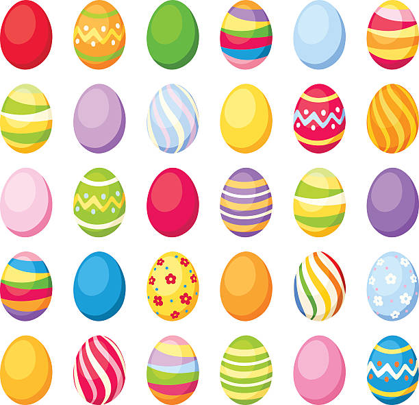 stockillustraties, clipart, cartoons en iconen met easter colorful eggs. vector illustration. - egg