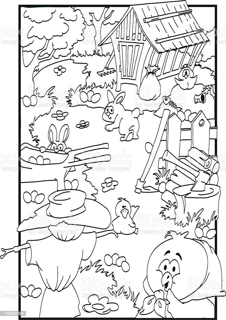 Easter coloring vector art illustration