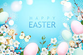Easter composition with booming branches