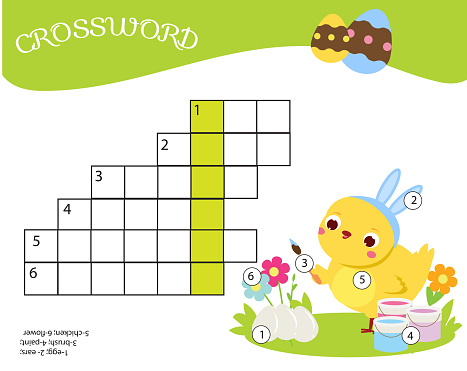 Easter Crossword Children Educational Game Learning Vocabulary - Immagini  vettoriali stock e altre immagini di Allievo - iStock