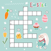 Easter crossword in English. Puzzle game with Easter characters and symbols  bunny, chick, tulip, cupcake, easter egg, carrot. For children in elementary and middle school. Vector illustration.