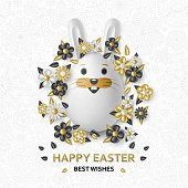Easter cute eggs set with white bunny and chicken. Vector illustration