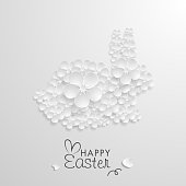 Easter Day, Bunny paper art background, Origami flower, Vector stock.