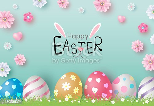 Easter day design of eggs and flowers on color paper background vector illustration
