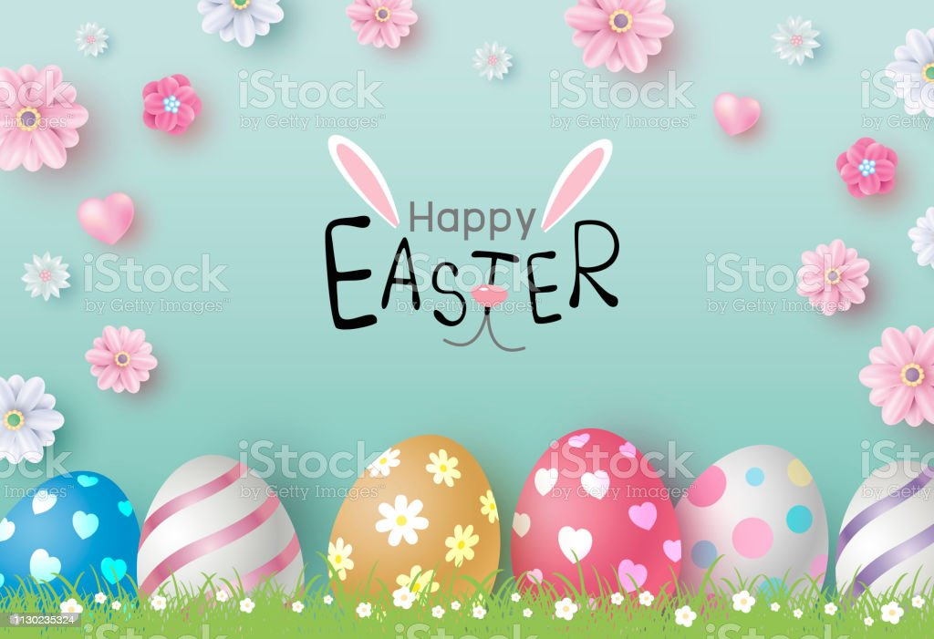 Easter day design of eggs and flowers on color paper background vector illustration vector art illustration