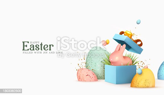istock Easter day design. Realistic blue gifts boxes. Open gift box full of decorative festive object. Holiday banner, web poster, flyer, stylish brochure, greeting card, cover. Spring Easter background 1303382500