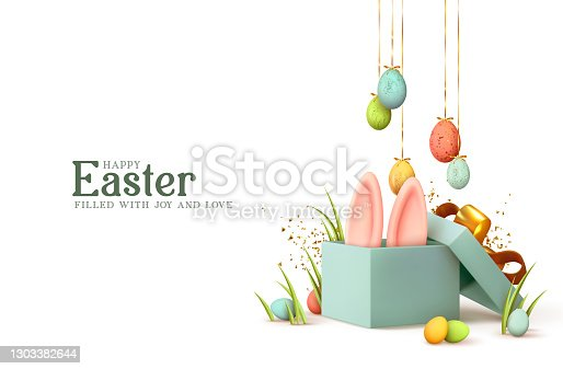 istock Easter day design. Realistic blue gifts boxes. Open gift box full of decorative festive object. Holiday banner, web poster, flyer, stylish brochure, greeting card, cover. Spring Easter background 1303382644
