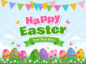 Easter Day design with colored eggs on green grass. Vector illustration
