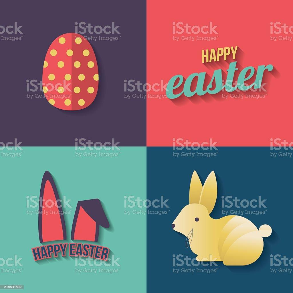 Easter Day Holiday Rabbit Egg Greetings Modern Flat Vector Illu