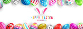 Easter Day Poster or banner template with Colorful Painted Easter Eggs.Easter eggs with different texture.Vector illustration EPS10