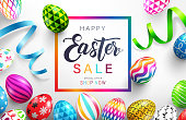 Easter Day Sale banner background template with Colorful Painted Easter Eggs.Vector illustration EPS10