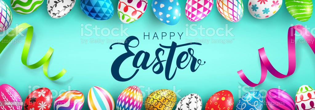 Easter Day web banner background template with Colorful Painted Easter Eggs.Easter eggs with different texture.Vector illustration EPS10 vector art illustration