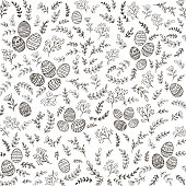 Black floral elements with decorative eggs on white background, illustration.