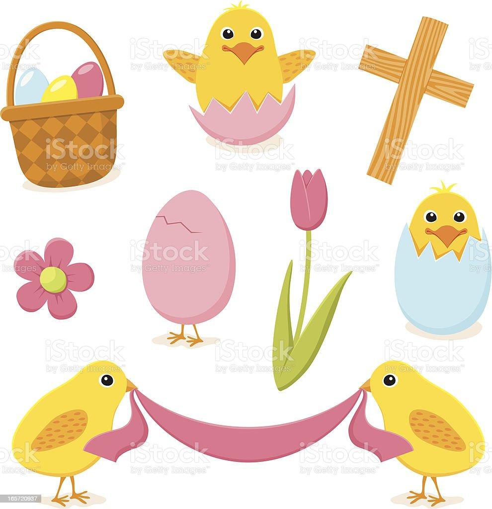 Easter design elements vector art illustration