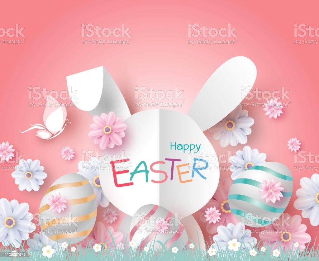 Ostern-Gestaltung von Papier Kaninchen und Blumen auf Korallen Farbe Hintergrund Vektor-illustration – Vektorgrafik