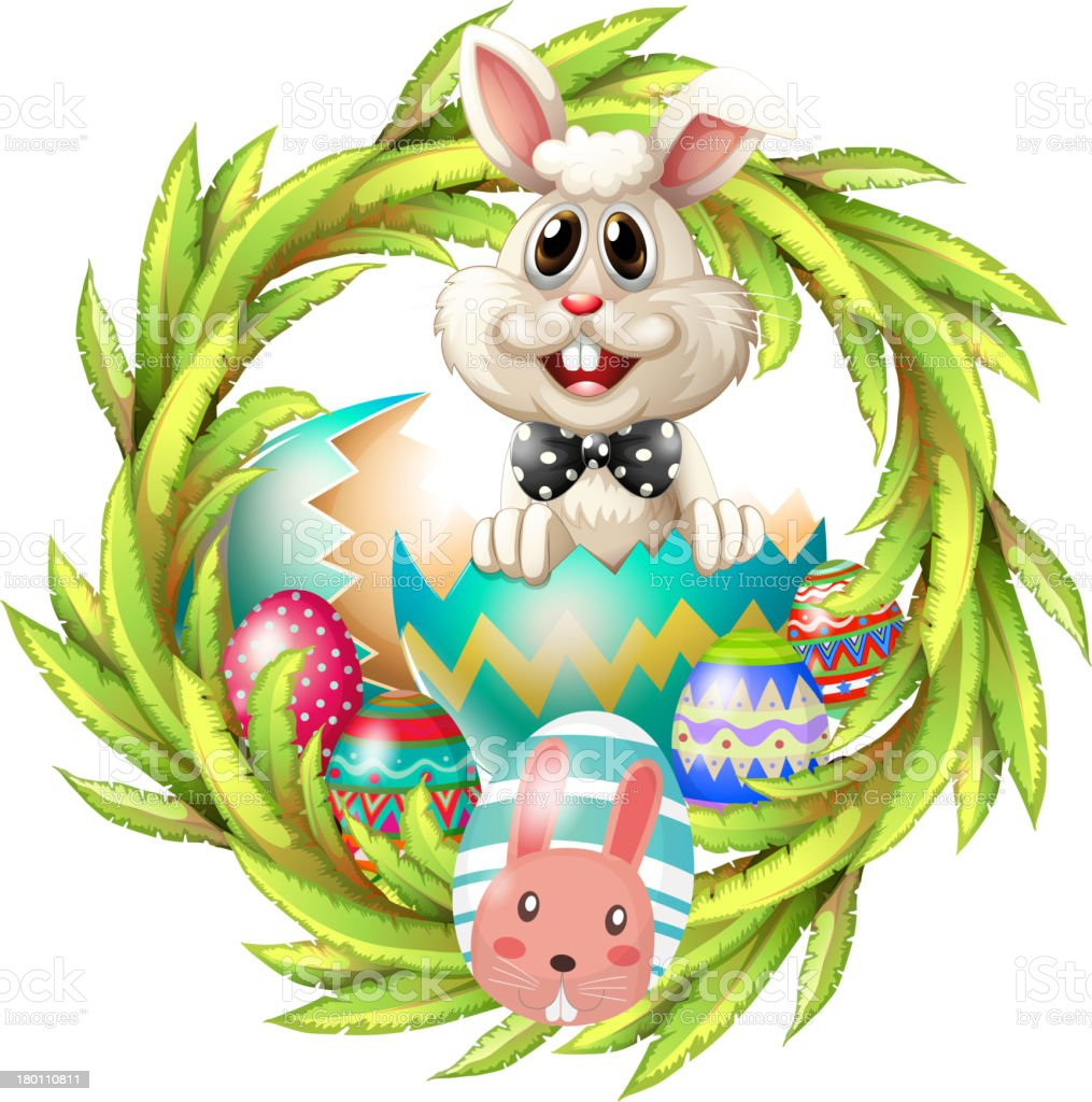 Easter design with a bunny, eggs and leafy plant royalty-free easter design with a bunny eggs and leafy plant stock vector art & more images of animal