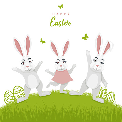 Easter design with bunny characters.
