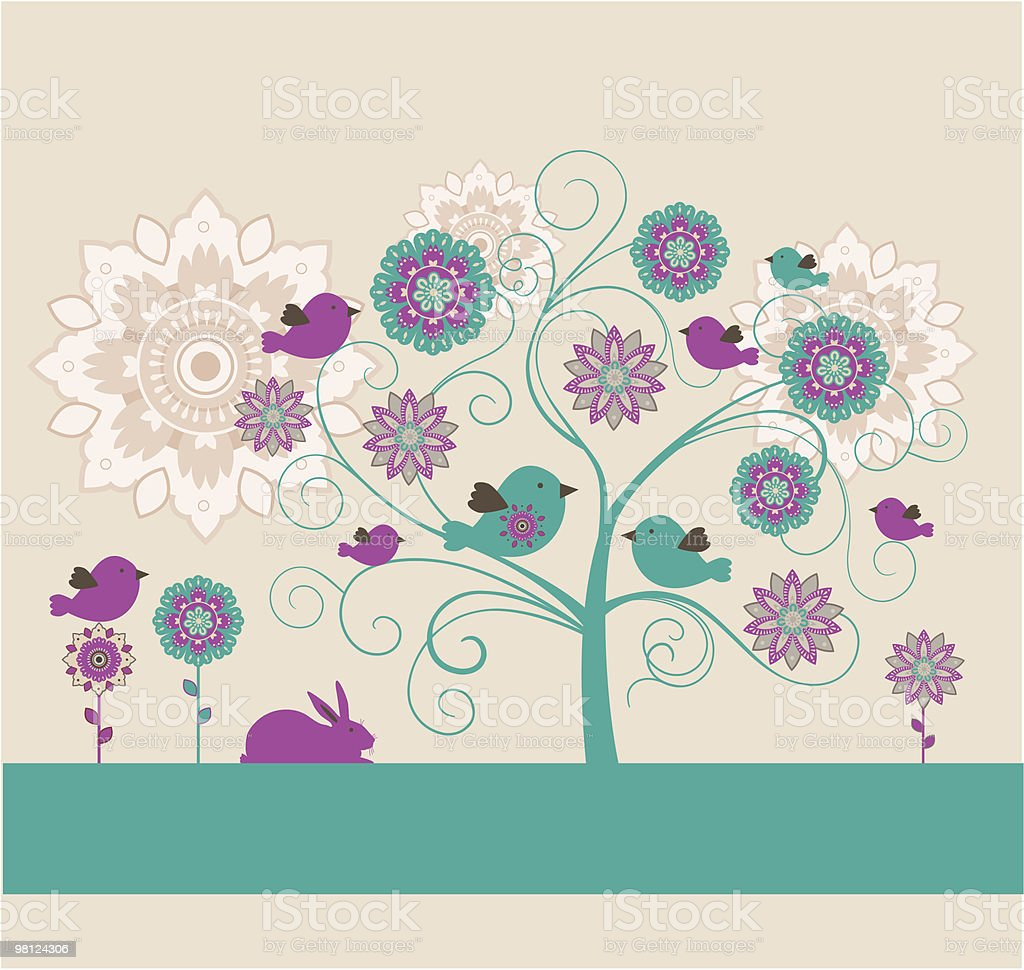 Easter design with flowers, birds and rabbit. royalty-free easter design with flowers birds and rabbit stock vector art & more images of animal