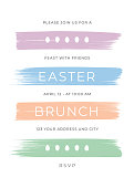 Easter Dinner invitation template with stripes. Stock illustration