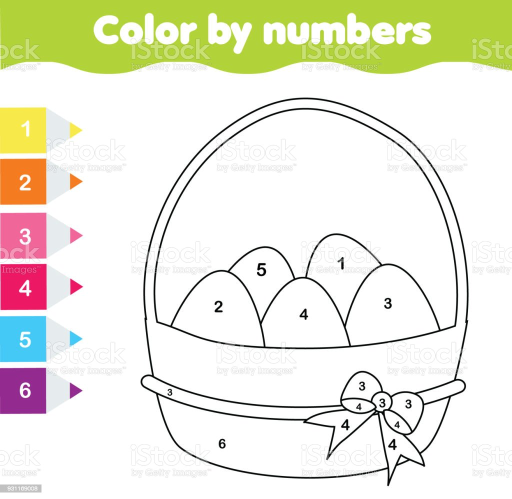 Easter Drawing Game Color By Numbers Printable Worksheet Coloring Page With Eggs
