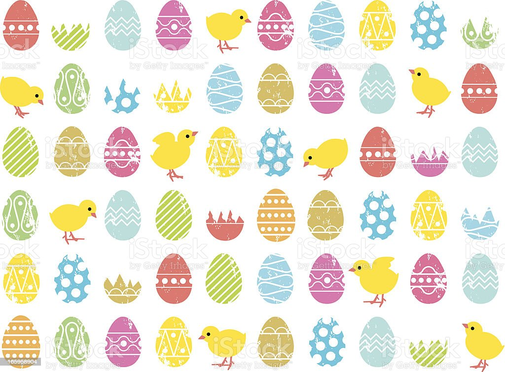 Easter egg and chick pattern royalty-free stock vector art