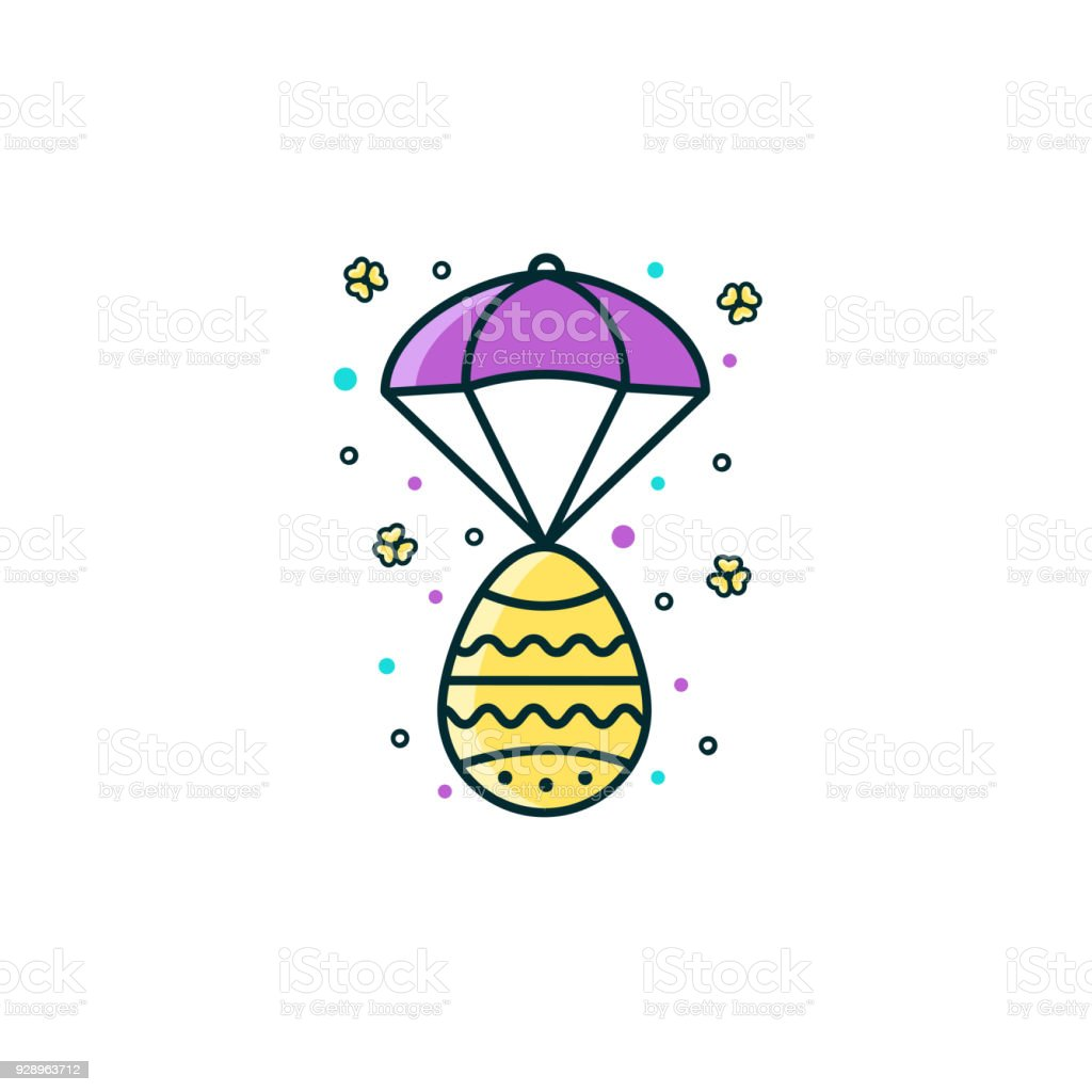 Easter egg and parachute flat color line icon on isolated easter egg and parachute flat color line icon on isolated background pascha resurrection day pooptronica Images