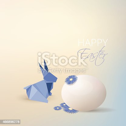 Easter egg, aster flowers and blue origami rabbit decoration isolated on soft subtle blurry background