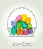 Colorful overlapping transparent silhouettes of Easter Eggs in Basket. Best in RGB, Eps 10 file.