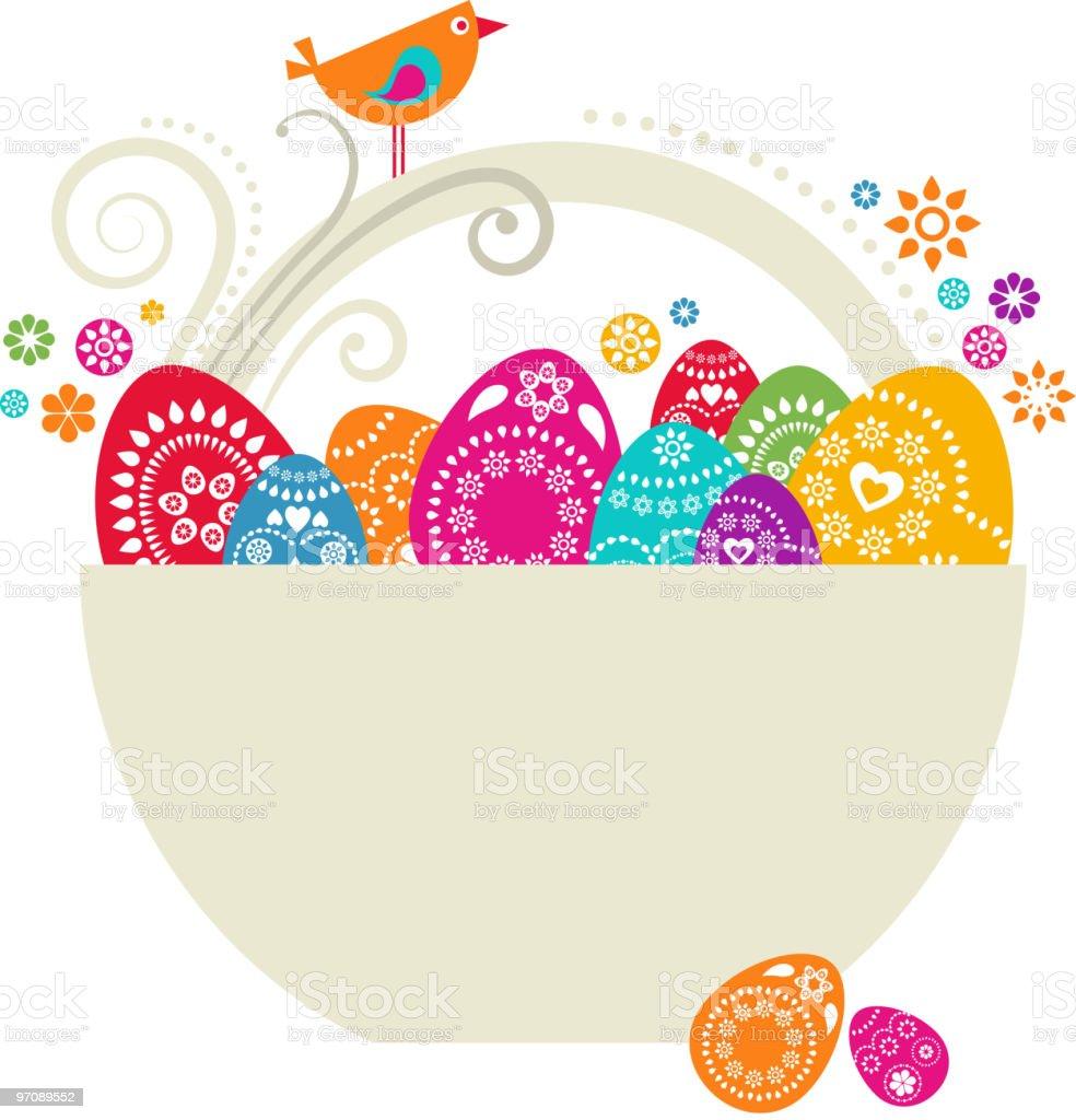 Easter egg basket royalty-free stock vector art