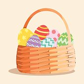 Colorful easter eggs in a bamboo basket.
