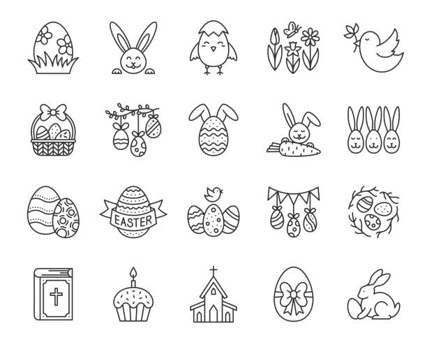 Easter egg bunny simple black line icon vector set Easter thin line icons set. Outline sign kit of egg. Bunny rabbit linear icon collection includes bird nest, church, chick. Simple spring flower contour symbol isolated on white vector Illustration temperate flower stock illustrations