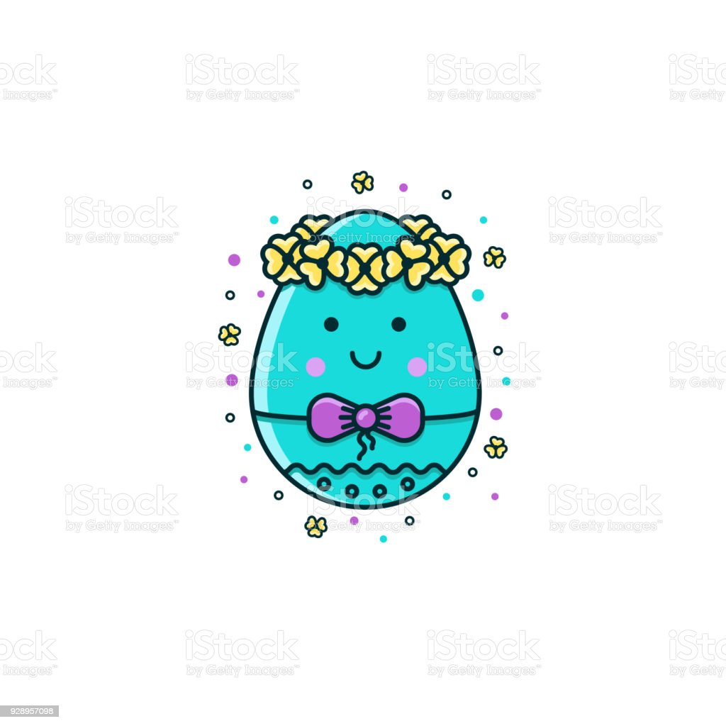 Easter egg character decorated with flower crown and bow flat easter egg character decorated with flower crown and bow flat color line icon on isolated biocorpaavc Gallery
