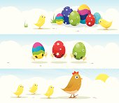 3 bright and colourful Easter egg and chick banners.