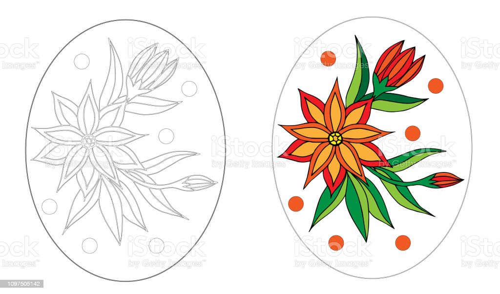 Easter Egg Coloring Book With Beautiful Flower Stock Illustration -  Download Image Now - IStock
