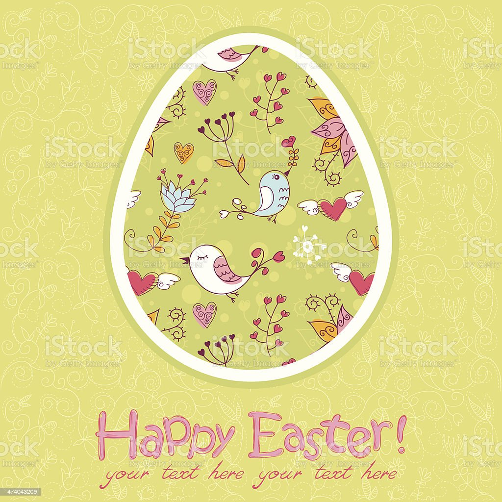 Easter egg cute floral card royalty-free stock vector art