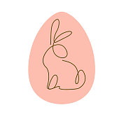 Easter egg decor design with outline bunny character silhouette sitting isolated. Line art icon. For holiday cards, prints, banner design decor etc. Flat style, vector illustration.