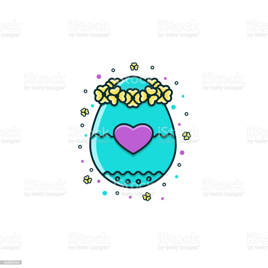 Easter Egg Decorated With Flower Crown And Heart Sign Flat Color ...