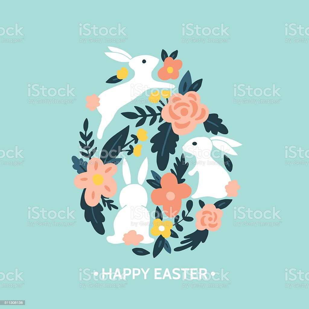Easter egg design with easter bunny and flowers vector art illustration