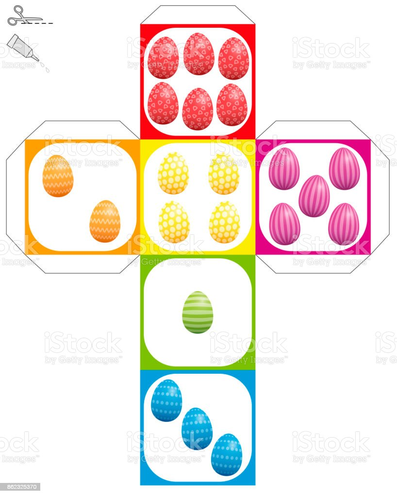 Easter egg dice template do it yourself model of a cube with colored easter egg dice template do it yourself model of a cube with colored and patterned solutioingenieria Choice Image