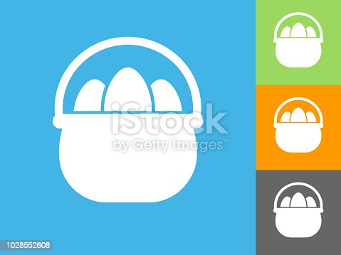 istock Easter Egg  Flat Icon on Blue Background 1028552608