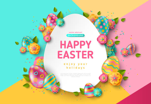 Easter egg frame and flowers Easter card with paper cut egg shape frame, spring flowers and leaves on colorful modern geometric background. Vector illustration. Place for your text easter stock illustrations