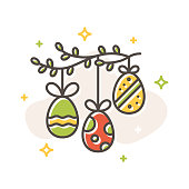 Easter egg garland on green branch concept, flat cartoon style. Filled outline icon design. Spring simple sign. Cute color symbol. Print, poster, banner, card design Vector Illustration isolated white