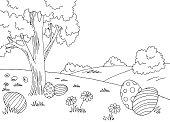 Easter egg graphic black white landscape sketch illustration vector