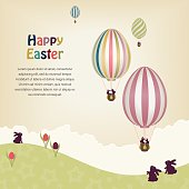 Easter greeting card with easter egg hot air balloons.