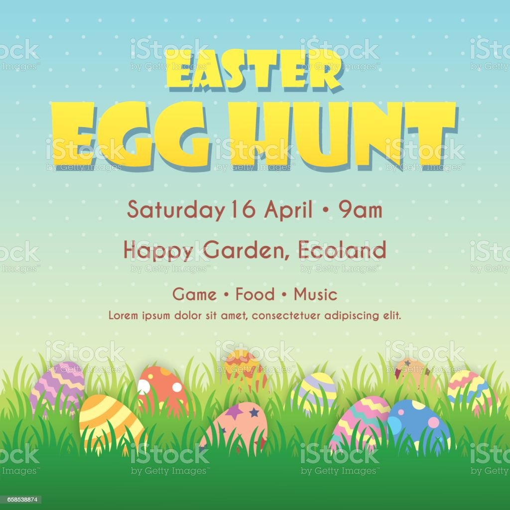 Easter egg hunt 3 vector art illustration