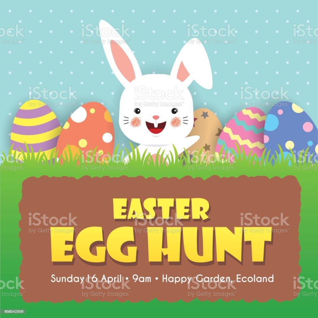 Easter egg hunt 6 vector art illustration